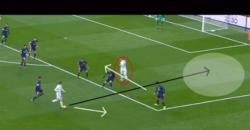 モドリッチ:パスの技術:右サイドへのパスを意識させながらサイドバックの裏へスルーパス